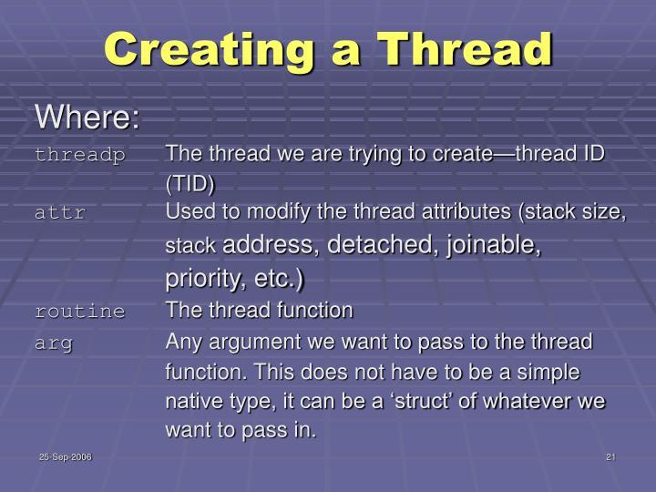 Creating a Thread