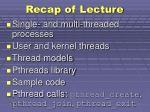 recap of lecture