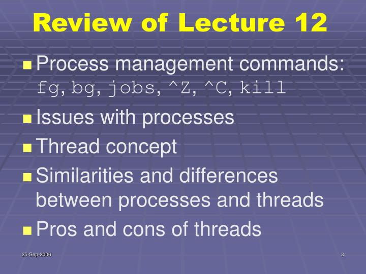Review of Lecture 12