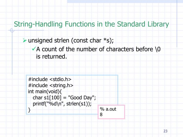 String-Handling Functions in the Standard Library