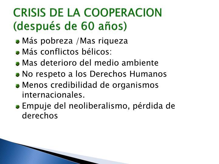 CRISIS DE LA COOPERACION