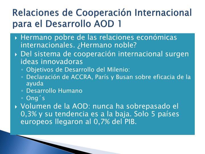 Relaciones de Cooperacin Internacional para el Desarrollo AOD 1