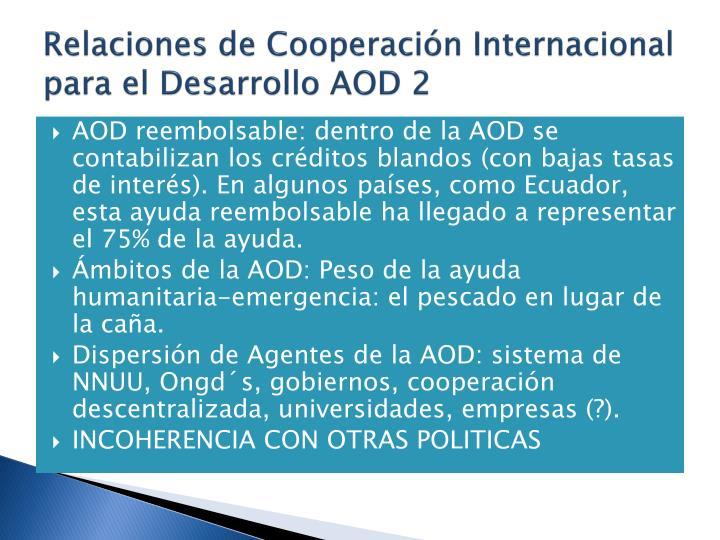 Relaciones de Cooperacin Internacional para el Desarrollo AOD 2