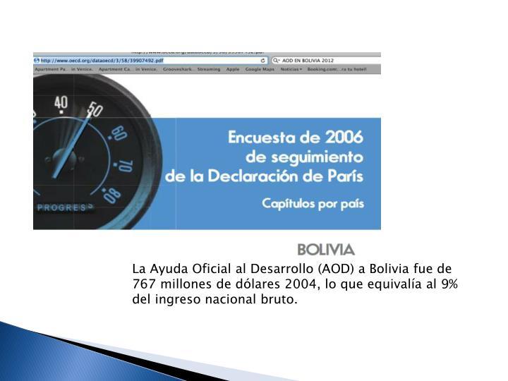 La Ayuda Oficial al Desarrollo (AOD) a Bolivia fue de 767 millones de dlares 2004, lo que equivala al 9% del ingreso nacional bruto.