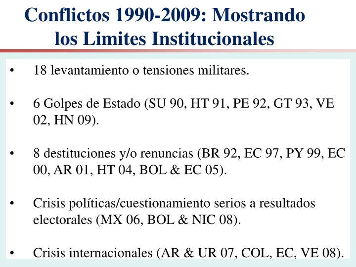 Conflictos 1990-2009: Mostrando los Limites Institucionales