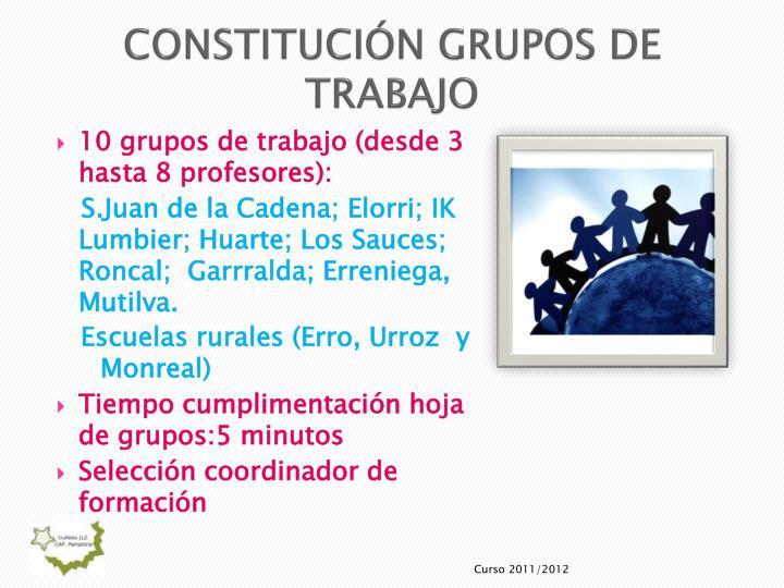 CONSTITUCIÓN GRUPOS DE TRABAJO