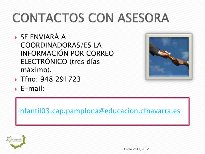 CONTACTOS CON ASESORA