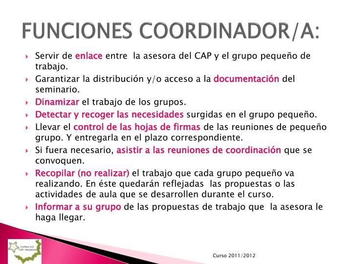 FUNCIONES COORDINADOR/A: