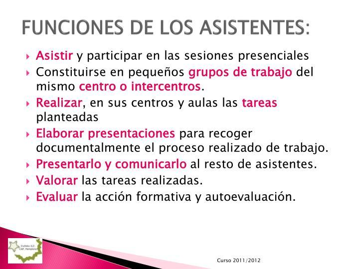 FUNCIONES DE LOS ASISTENTES: