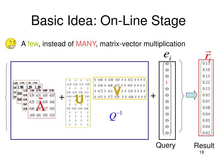 Basic Idea: On-Line Stage