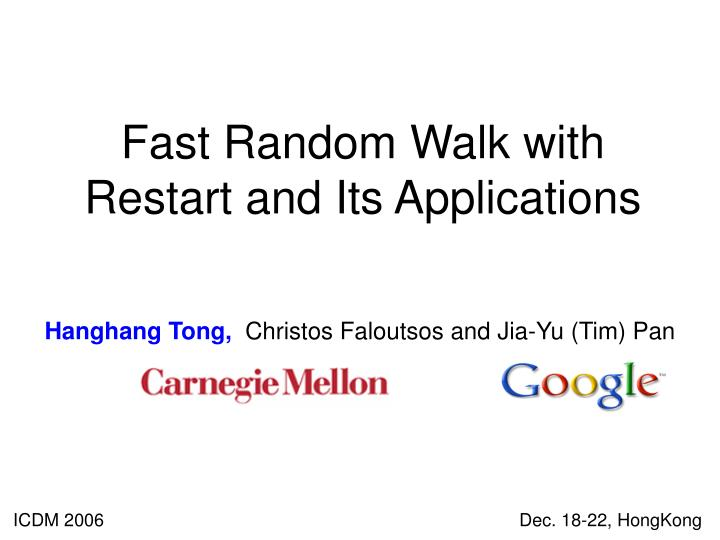 Fast random walk with restart and its applications