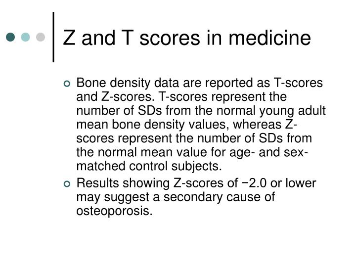 Z and T scores in medicine