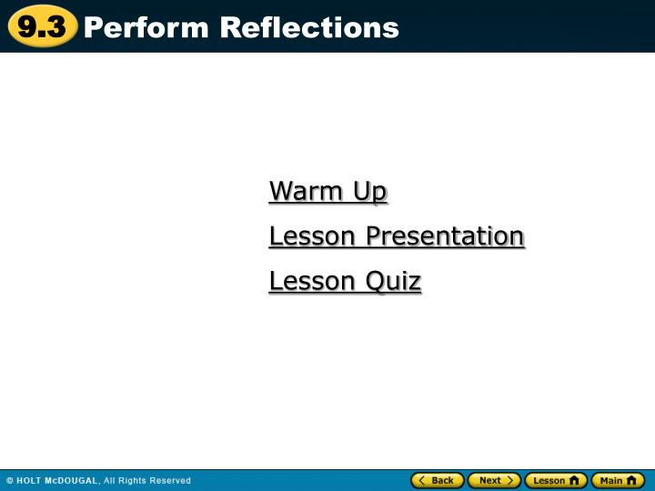 Perform Reflections
