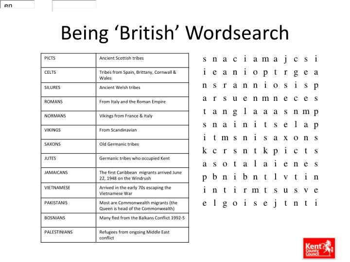 Being 'British' Wordsearch