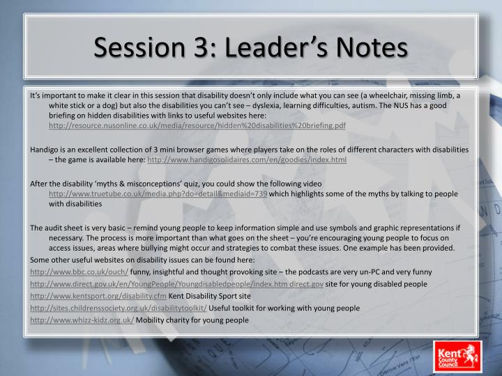 Session 3: Leader's Notes