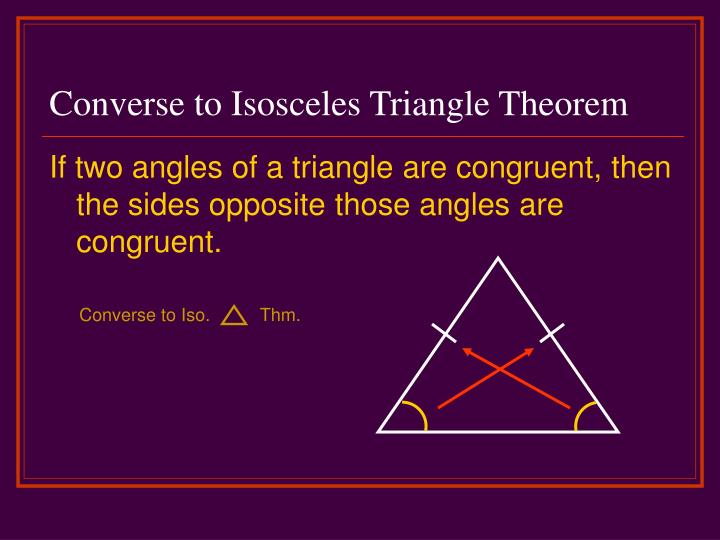 Converse to Isosceles Triangle Theorem