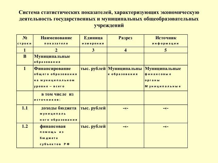 Система статистических показателей, характеризующих экономическую деятельность государственных и муниципальных общеобразовательных учреждений