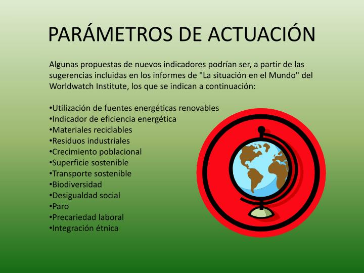 PARÁMETROS DE ACTUACIÓN