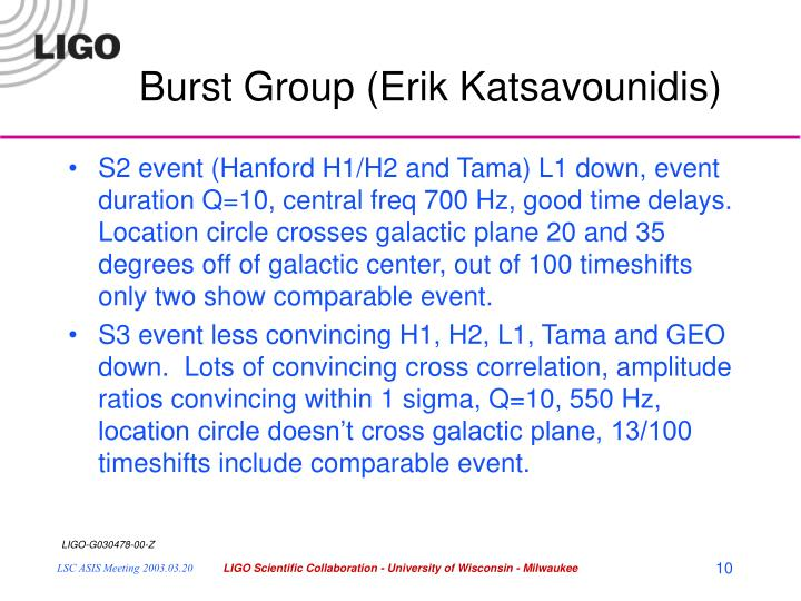 Burst Group (Erik Katsavounidis)