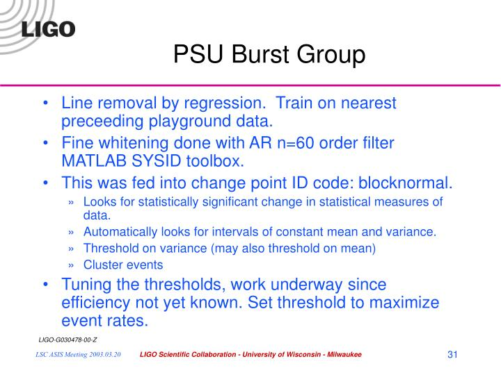PSU Burst Group