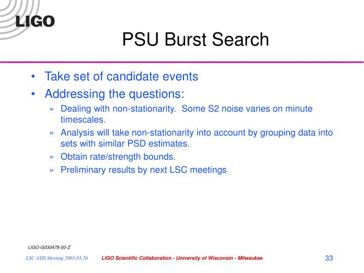 PSU Burst Search
