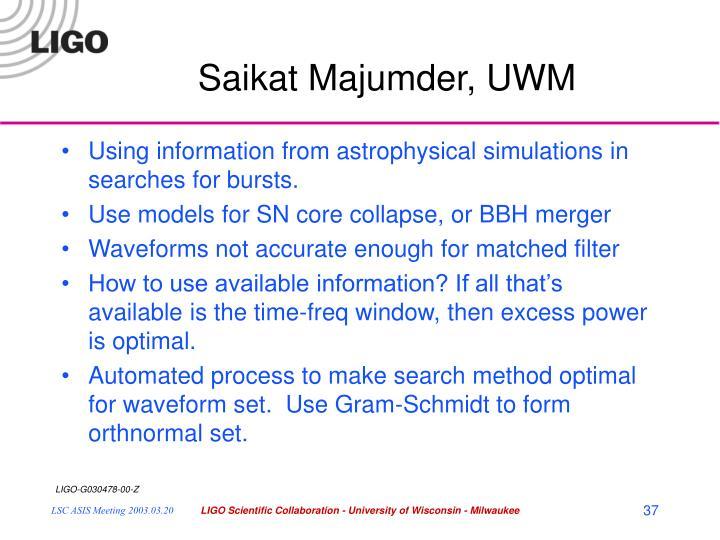 Saikat Majumder, UWM