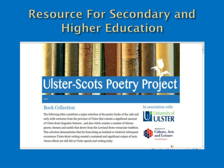 Resource For Secondary and Higher Education