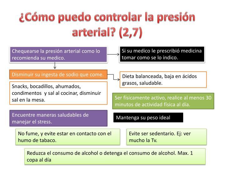 ¿Cómo puedo controlar la presión arterial? (2,7)
