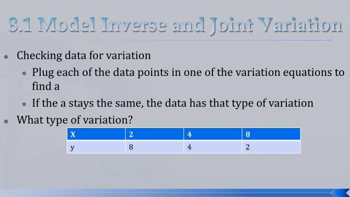 8.1 Model Inverse and Joint Variation