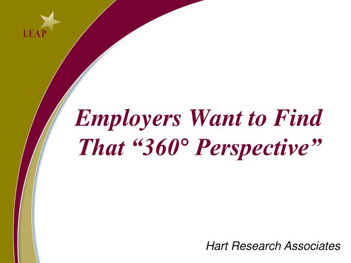 "Employers Want to Find That ""360° Perspective"""