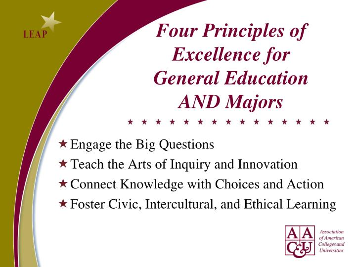 Four Principles of Excellence for General Education AND Majors