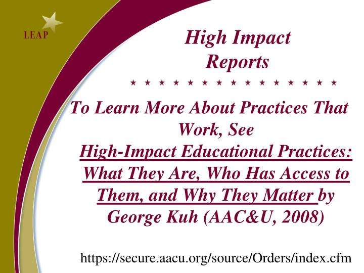 High Impact Reports