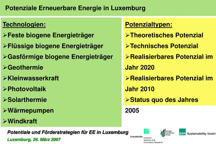 Potenziale Erneuerbare Energie in Luxemburg