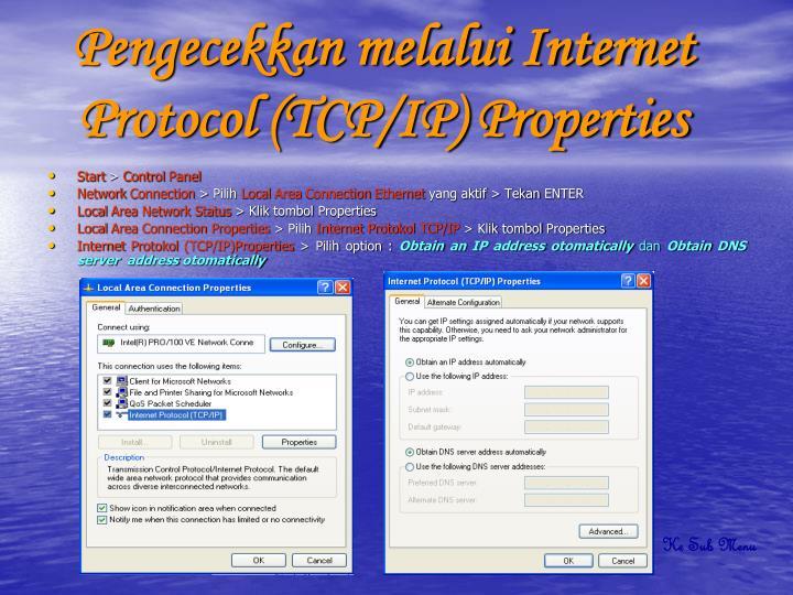 Pengecekkan melalui Internet Protocol (TCP/IP) Properties