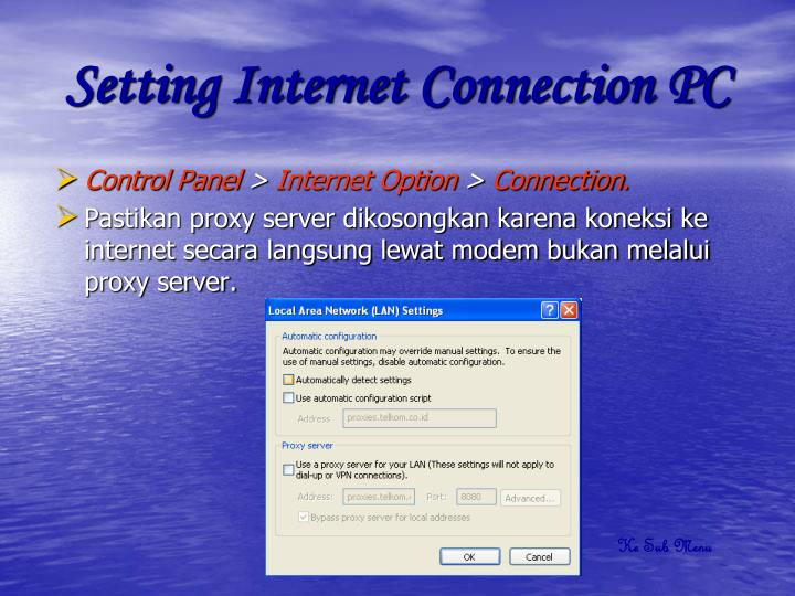 Setting Internet Connection PC