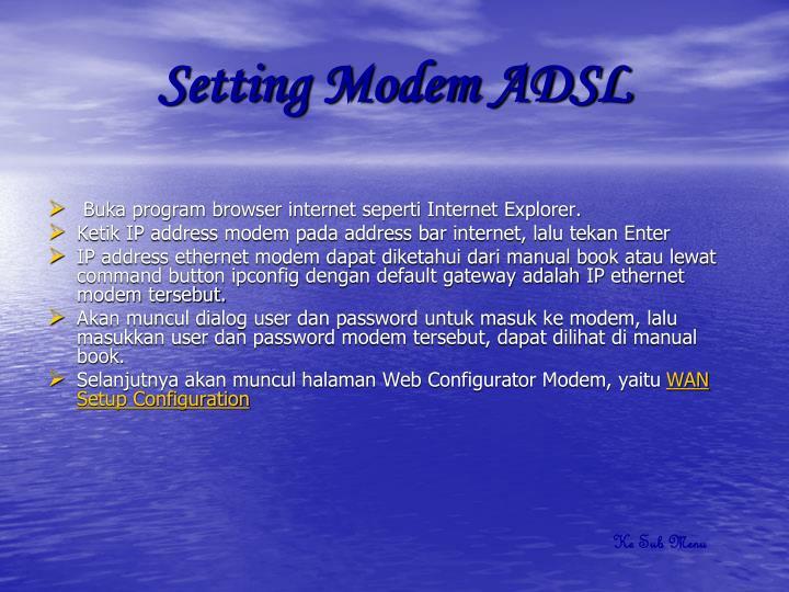 Setting Modem ADSL