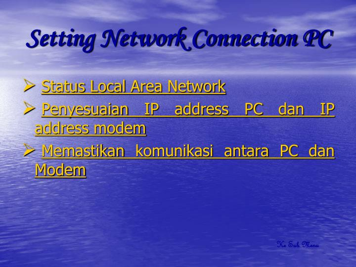 Setting Network Connection PC