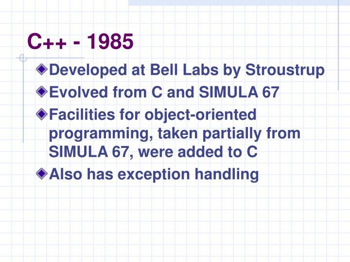 C++ - 1985