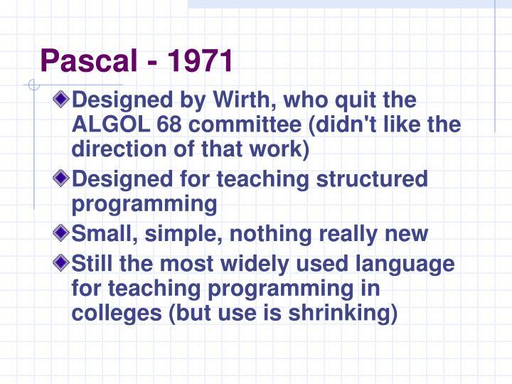 Pascal - 1971