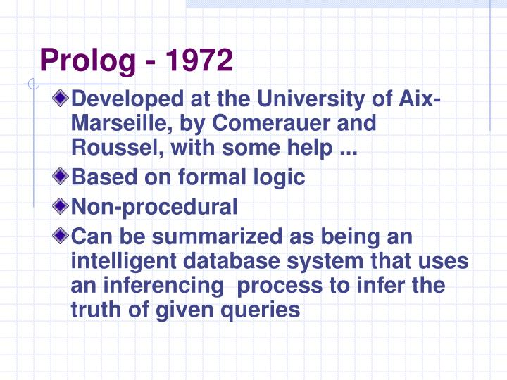 Prolog - 1972