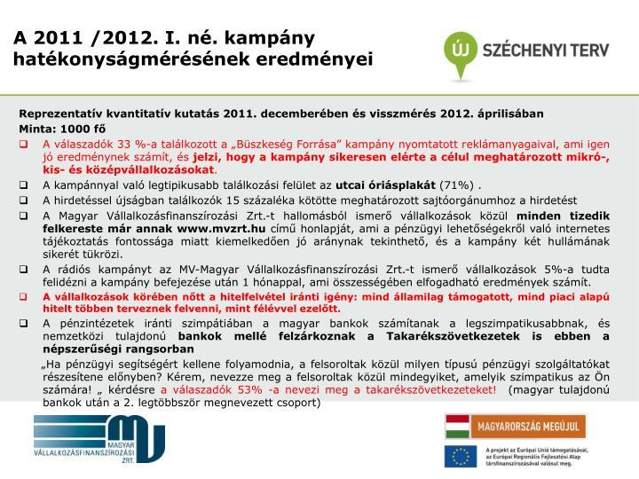 Reprezentatív kvantitatív kutatás 2011. decemberében és visszmérés 2012. áprilisában