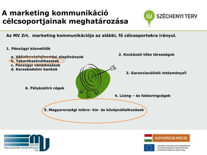 Az MV Zrt.  marketing kommunikációja az