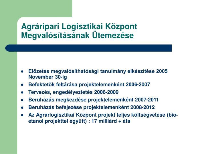 Agráripari Logisztikai Központ Megvalósításának Ütemezése