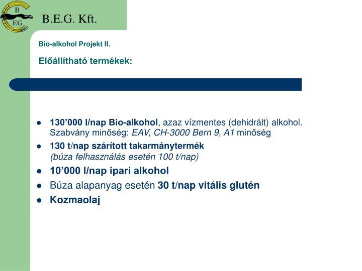Bio-alkohol Projekt II.