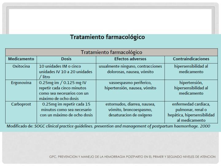 GPC, PREVENCION Y MANEJO DE LA HEMORRAGIA POSTPARTO EN EL PRIMER Y SEGUNDO NIVELES DE ATENCION
