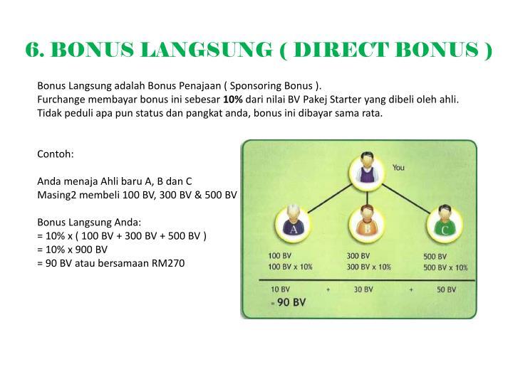 6. BONUS LANGSUNG ( DIRECT BONUS )