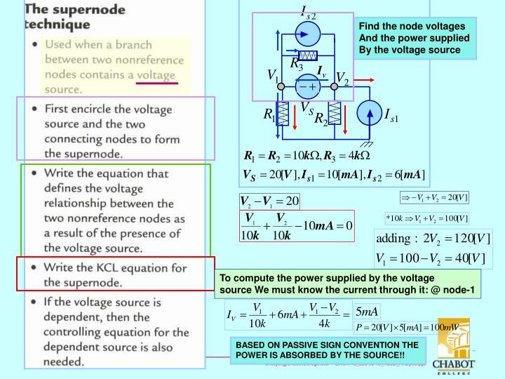 Find the node voltages