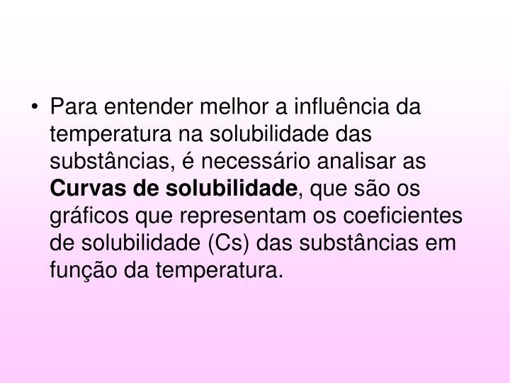 Para entender melhor a influência da temperatura na solubilidade das substâncias, é necessário analisar as