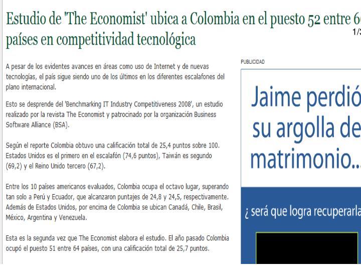 Estudio de 'The Economist' ubica a Colombia en el puesto 52 entre 66 países en competitividad tecnológica