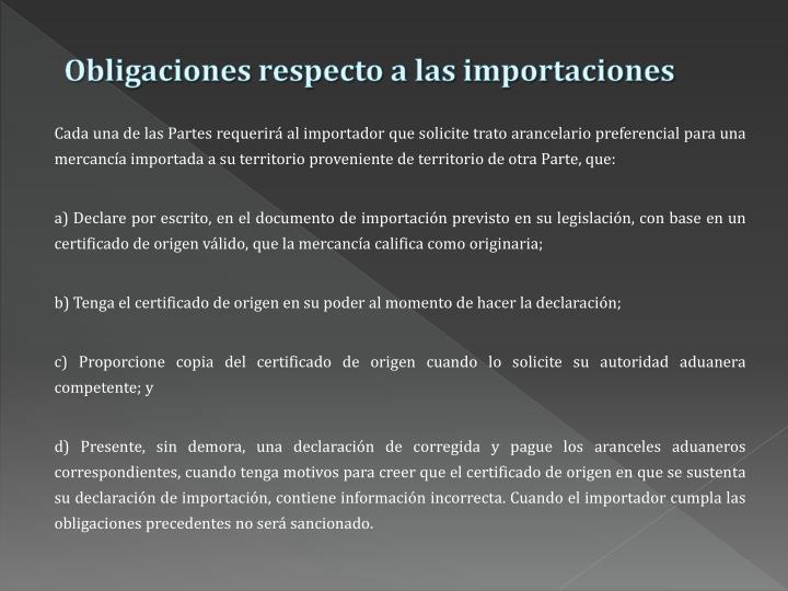 Obligaciones respecto a las importaciones
